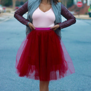 Rue21 Burgundy Tulle Skirt